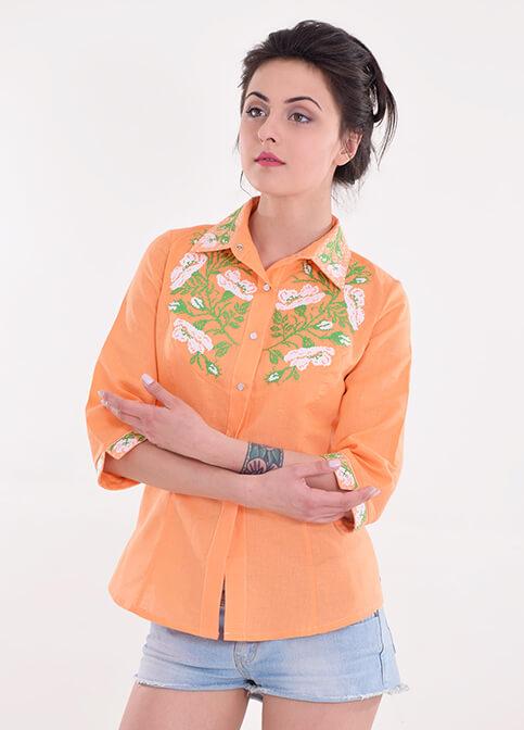 Купити жіночу вишиту сорочку Макова грація (помаранчева)в Україні від Галичанка фото 1