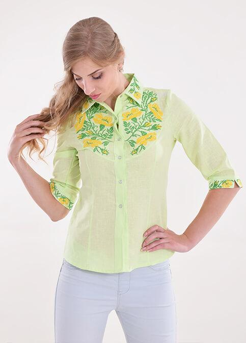 Купити жіночу вишиту сорочку Макова грація (салатова)в Україні від Галичанка фото 1