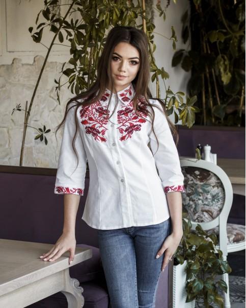 Купити жіночу вишиту сорочку Макова грація (біла з вишневим)в Україні від Галичанка фото 1