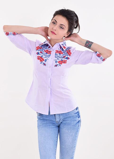 Купити жіночу вишиту сорочку Макова грація (бузкова)в Україні від Галичанка фото 1