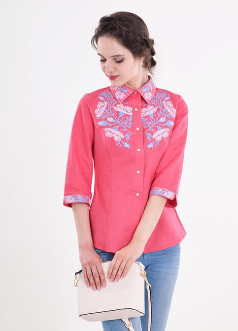 Купити жіночу вишиту сорочку Макова грація (червона)в Україні від Галичанка фото 1
