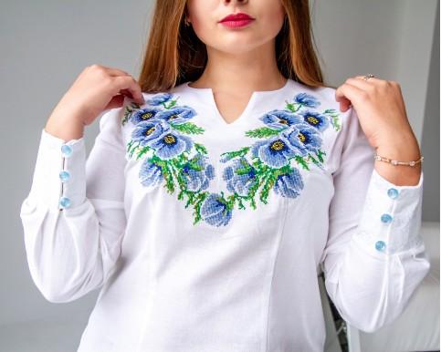 Купити жіночу вишиту сорочку Маки (біла з синім)в Україні від Галичанка фото 1