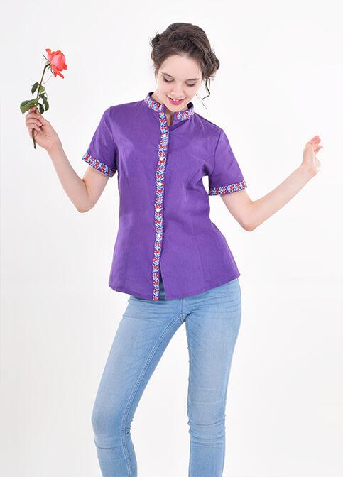 Купити жіночу вишиту сорочку Маргаритка (фіолетова)в Україні від Галичанка фото 1