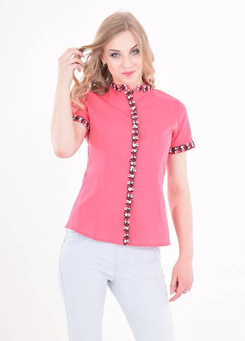 Купити жіночу вишиту сорочку Маргаритка (червона)в Україні від Галичанка фото 1