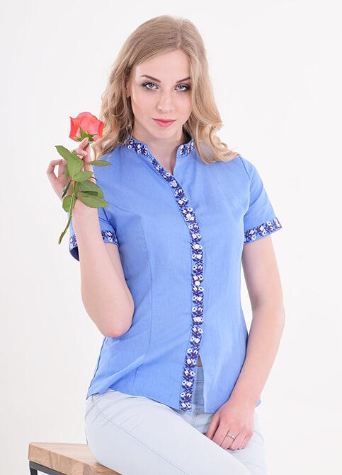 Купити жіночу вишиту сорочку Маргаритка (голуба)в Україні від Галичанка фото 1