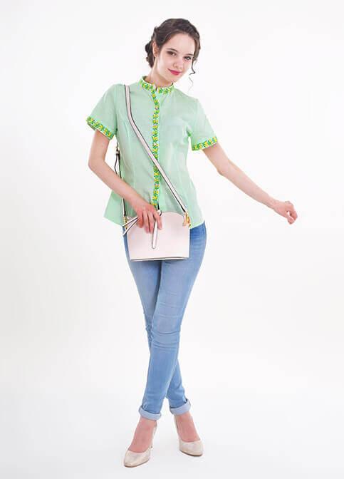 Купити жіночу вишиту сорочку Маргаритка (салатова)в Україні від Галичанка фото 1