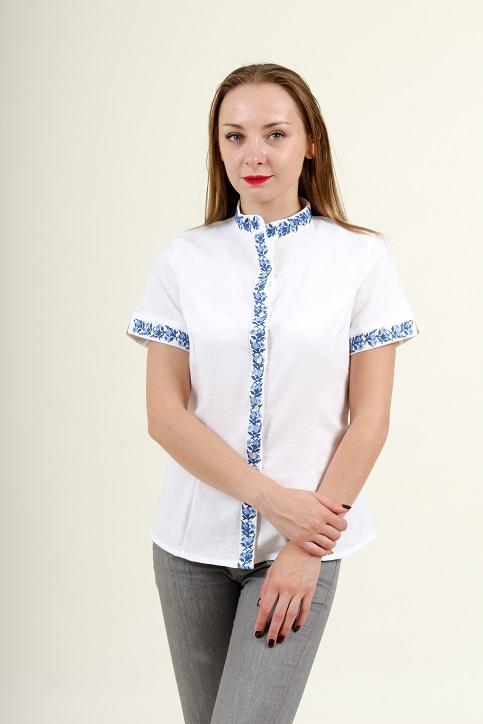 Купити жіночу вишиту сорочку Маргаритка (біла з синім)в Україні від Галичанка фото 1