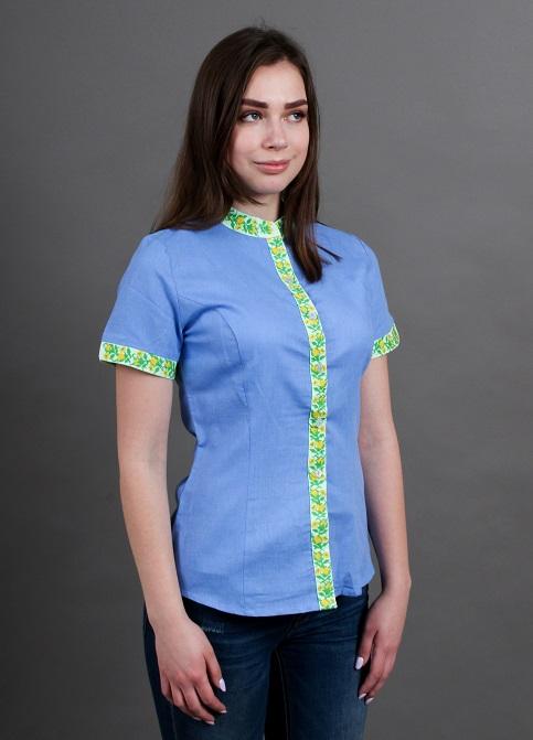 Купити жіночу вишиту сорочку Маргаритка голуба планка зеленав Україні від Галичанка фото 1
