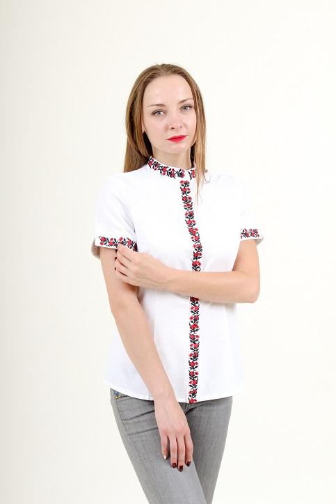 Купити жіночу вишиту сорочку Маргаритка (біла з червоним)в Україні від Галичанка фото 1