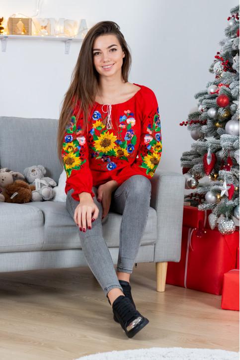 Купити жіночу вишиту сорочку Мар'яна (червона)в Україні від Галичанка фото 1