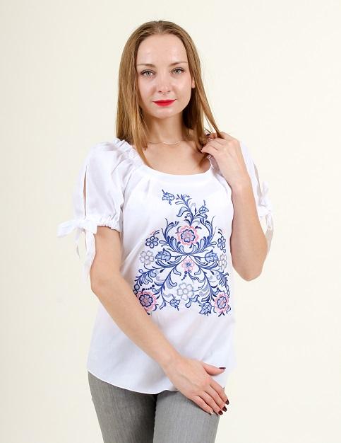 Купити жіночу вишиту сорочку Мереживне диво (біла з синім)в Україні від Галичанка фото 1