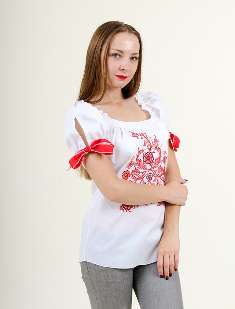 Купити жіночу вишиту сорочку Мереживне диво (біла з червоним)в Україні від Галичанка фото 1