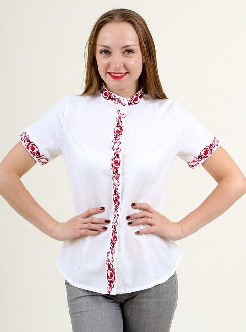 Купити жіночу вишиту сорочку Мрія (біла з червоним)в Україні від Галичанка фото 1