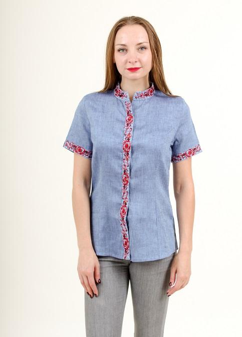 Купити жіночу вишиту сорочку Мрія (джинс)в Україні від Галичанка фото 1