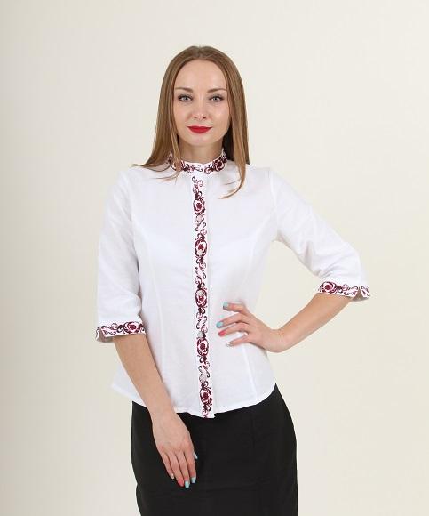 Купити жіночу вишиту сорочку Мрія плюс (біла з червоним)в Україні від Галичанка фото 1