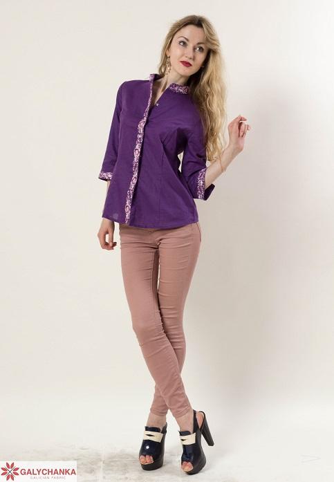 Купити жіночу вишиту сорочку Мрія плюс (фіолетова)в Україні від Галичанка фото 1
