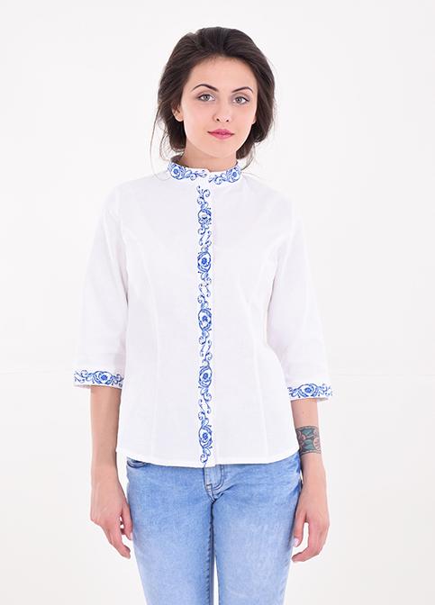 Купити жіночу вишиту сорочку Мрія плюс (біла з синім)в Україні від Галичанка фото 1