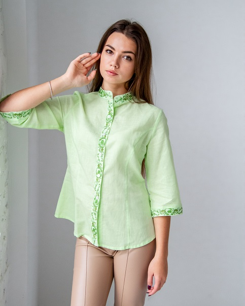 Купити жіночу вишиту сорочку Мрія плюс (салатова)в Україні від Галичанка фото 1
