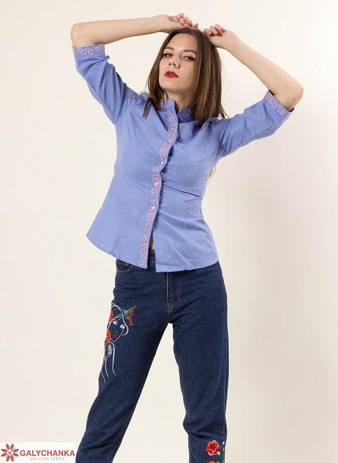 Купити жіночу вишиту сорочку Мрія плюс (голуба)в Україні від Галичанка фото 1