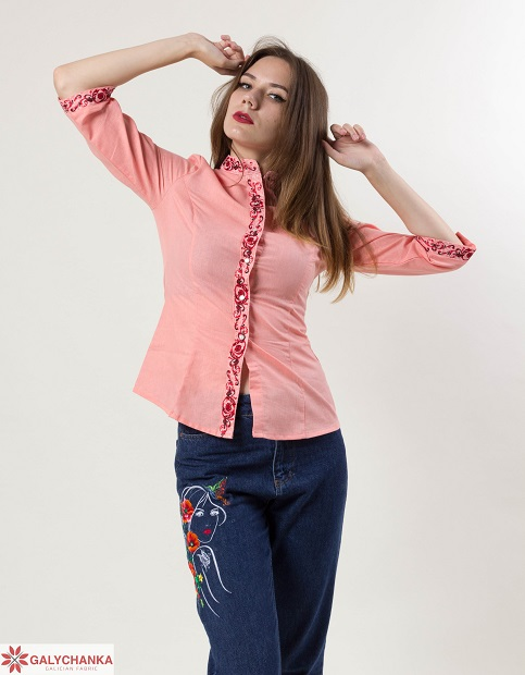 Купити жіночу вишиту сорочку Мрія плюс (рожева)в Україні від Галичанка фото 1