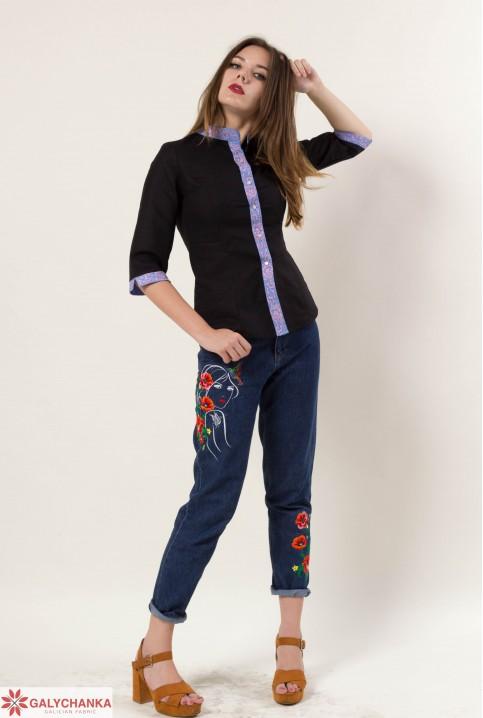 Купити жіночу вишиту сорочку Мрія плюс (чорна)в Україні від Галичанка фото 1