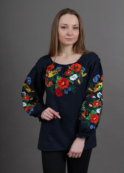Купити жіночу вишиту сорочку Наше літо бохо (темно синя)в Україні від Галичанка фото 1