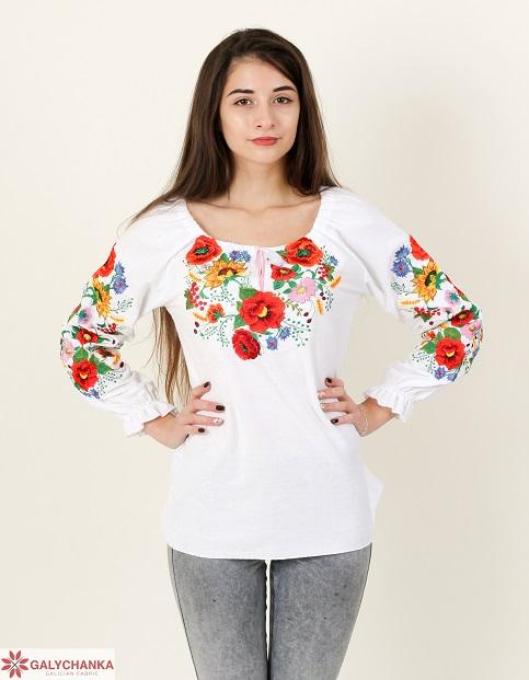 Купити жіночу вишиту сорочку  Наше літо  (біла)в Україні від Галичанка фото 1