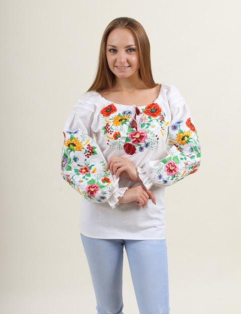 Купити жіночу вишиту сорочку Наше літо бохо(біла)в Україні від Галичанка фото 1