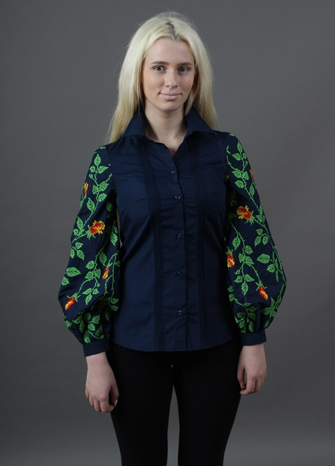 Купити жіночу вишиту сорочку Нескорена (т. синя із зеленим)в Україні від Галичанка фото 1