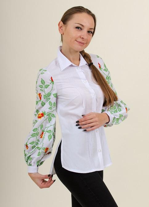 Купити жіночу вишиту сорочку Нескорена (біла з зеленим)в Україні від Галичанка фото 1