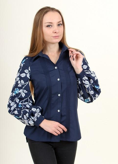 Купити жіночу вишиту сорочку Нескорена (синя з синім)в Україні від Галичанка фото 1