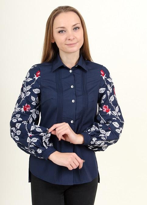 Купити жіночу вишиту сорочку Нескорена (синя з червоним)в Україні від Галичанка фото 1