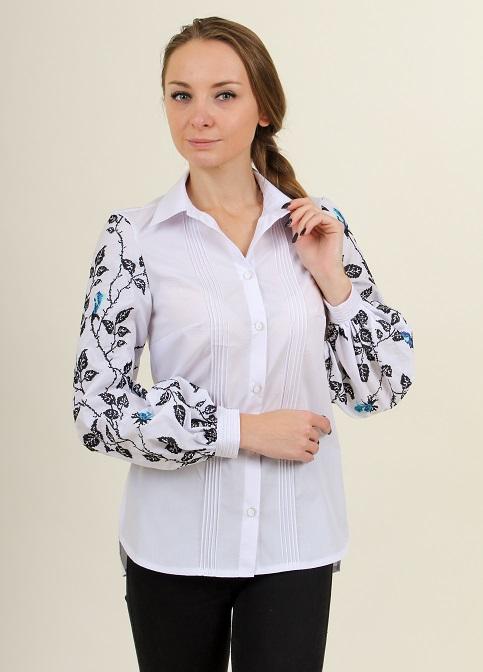 Купити жіночу вишиту сорочку Нескорена (біла з синім)в Україні від Галичанка фото 1