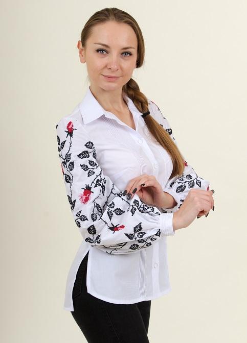 Купити жіночу вишиту сорочку Нескорена (біла з червоним)в Україні від Галичанка фото 1