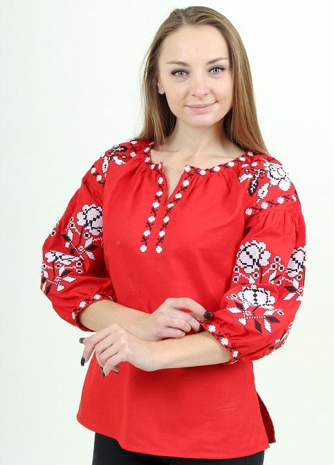 Купити жіночу вишиту сорочку Ніжність (червоний)в Україні від Галичанка фото 1