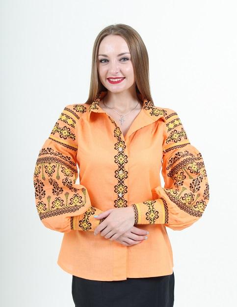 Купити жіночу вишиту сорочку Панна (помаранчева)в Україні від Галичанка фото 1