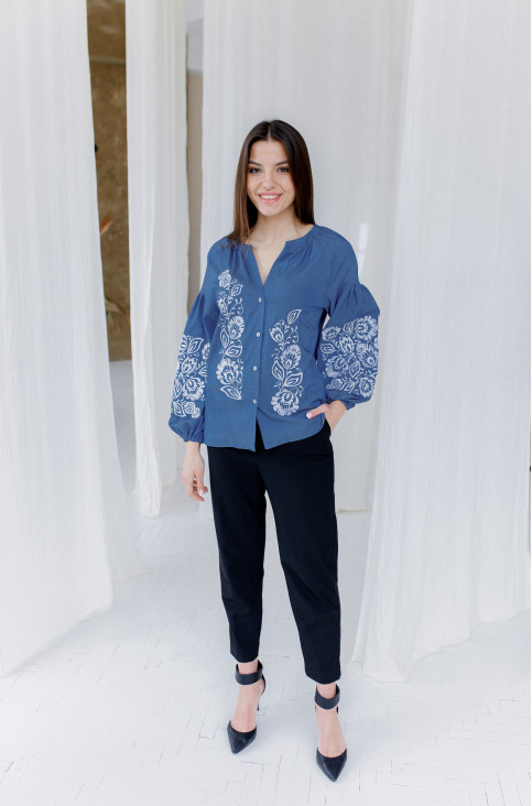 Купити жіночу вишиту сорочку Ажур (джинс темний)в Україні від Галичанка фото 1