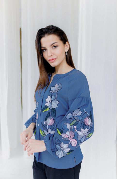 Купити жіночу вишиту сорочку Ліліана (джинс)в Україні від Галичанка фото 1