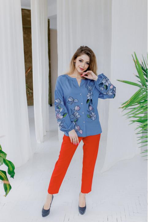 Купити жіночу вишиту сорочку Ліліана (голуба)в Україні від Галичанка фото 1