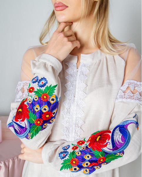 Купити жіночу вишиту сорочку Павліна (бежева)в Україні від Галичанка фото 1