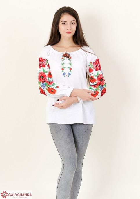 Купити жіночу вишиту сорочку Полум'яний вихор (біла)в Україні від Галичанка фото 1