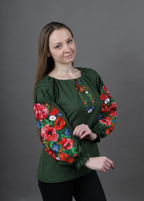 Купити жіночу вишиту сорочку Полум'яний вихор бохо (зелена)в Україні від Галичанка фото 1