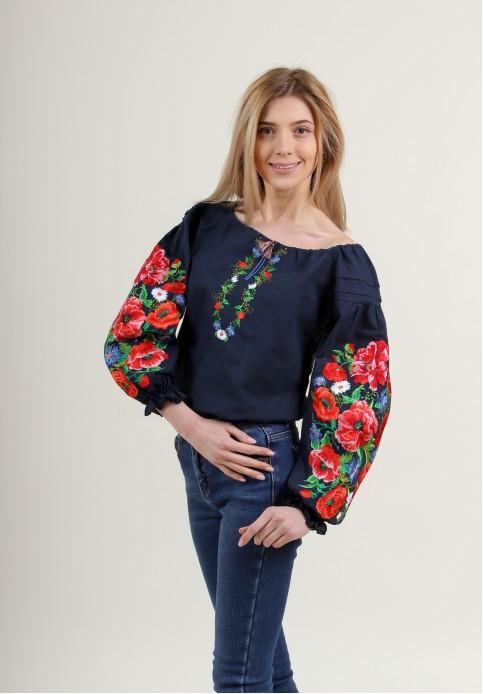 Купити жіночу вишиту сорочку Полумяний вихор (синя)в Україні від Галичанка фото 1