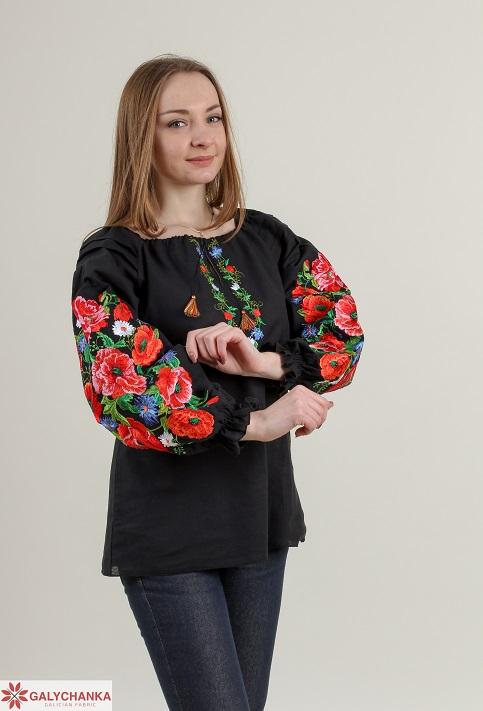 Купити жіночу вишиту сорочку Полум'яний вихор бохо (чорна)в Україні від Галичанка фото 1