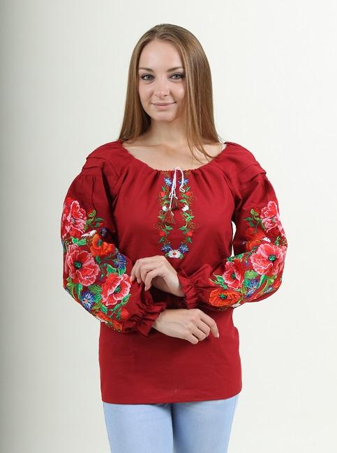Купити жіночу вишиту сорочку Полум'яний вихор (вишнева)в Україні від Галичанка фото 1