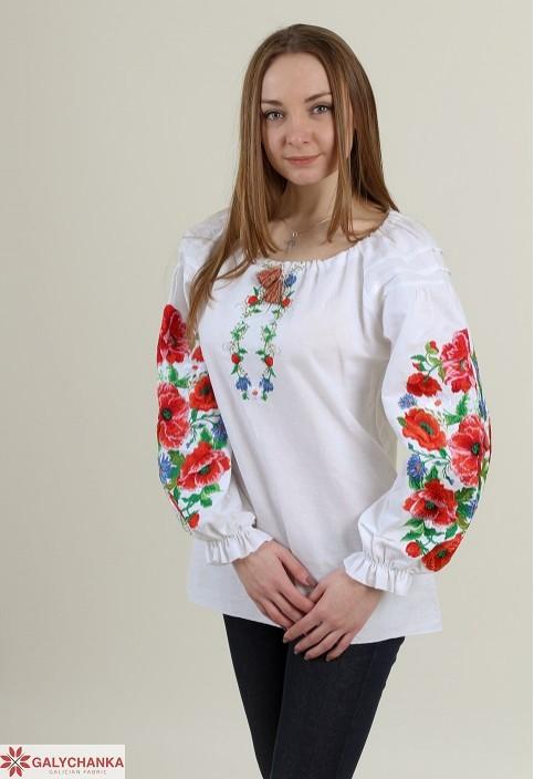 Купити жіночу вишиту сорочку Полум'яний вихор бохо (біла)в Україні від Галичанка фото 1
