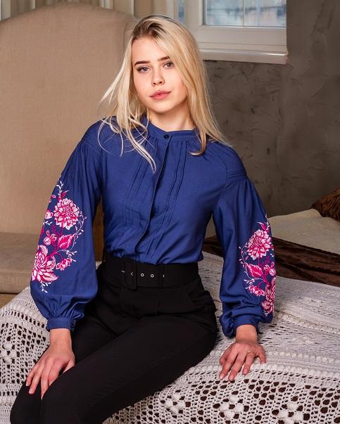 Купити жіночу вишиту сорочку Рожева симфонія (джинс)в Україні від Галичанка фото 1