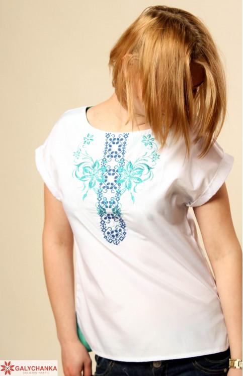 Купити жіночу вишиту сорочку Скрипка (ментол)в Україні від Галичанка фото 1