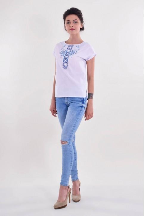 Купити жіночу вишиту сорочку Скрипка (біла з синім)в Україні від Галичанка фото 1