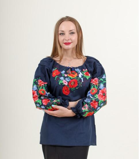 Купити жіночу вишиту сорочку Солов`їна пісня (темно синя)в Україні від Галичанка фото 1